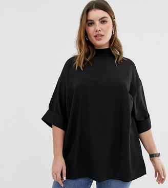 Asos DESIGN Curve oversized minimal top in black