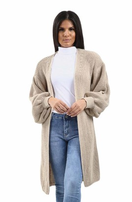 Rolight Chic Women Ladies Knitted Open Front Balloon Sleeve Long Cardigan Sweater UK Size 8-14