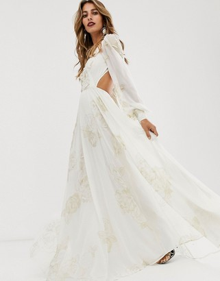 Asos Edition EDITION embellished print maxi dress-White