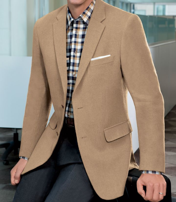 Jos. A. Bank Traveler Tailored Fit 2-Button Camel Hair Blazer Extended Sizes