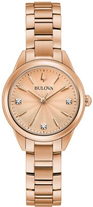Bulova Women's Diamond Accent Rose Gold-Tone Stainless Steel Watch - 97P151K