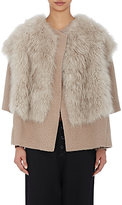 Pas De Calais Women's Shearling-Collar Jacket-LIGHT GREY, TAN