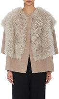 Pas De Calais Women's Shearling-Collar Jacket-LIGHT GREY, TAN