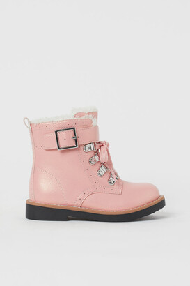 H&M Faux Shearling-lined Boots - Orange