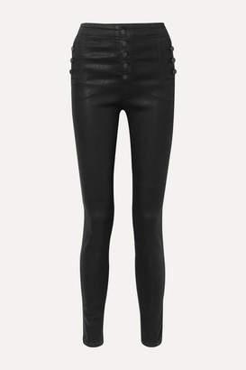 J Brand Natasha Coated High-rise Skinny Jeans - Black