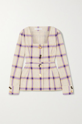 REJINA PYO Martina Belted Checked Linen Jacket - Purple