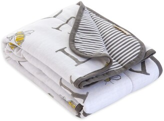 Burt's Bees Watercolor A-BEE-C Alphabet Jersey Knit Organic Reversible Baby Blanket