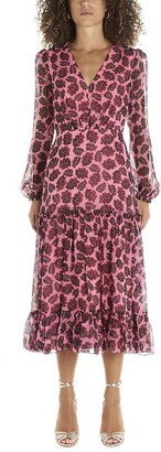 Saloni Leaf Printed V-Neck Midi Dress