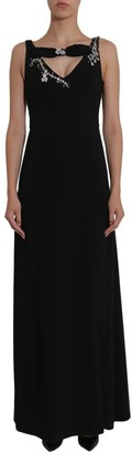 Boutique Moschino Embellished Fitted Waist Maxi Dress