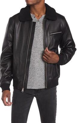 Slate & Stone Fleece Collar Leather Bomber
