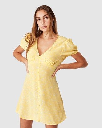 Cotton On Women's Yellow Mini Dresses - Woven Essential Button Front Mini Dress - Size S at The Iconic