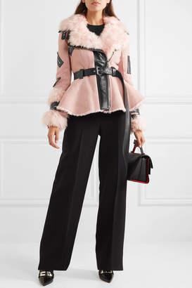Alexander McQueen Leather-trimmed Shearling Biker Jacket - Pink