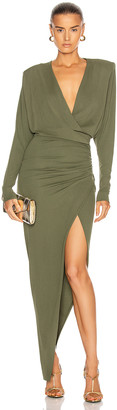 Alexandre Vauthier Surplice Maxi Dress in Olive | FWRD
