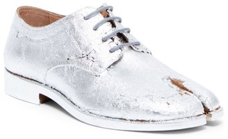 Maison Margiela Metallic Leather Lace-Up Oxfords