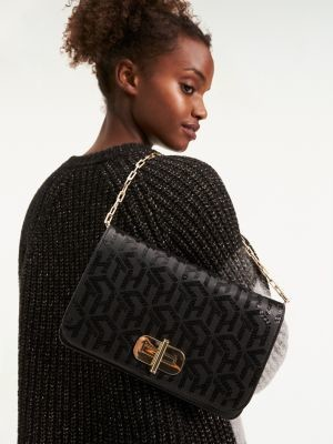 Tommy Hilfiger Sequin Leather Turnlock Clutch
