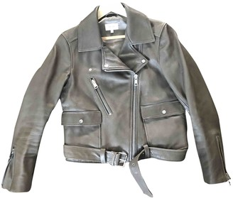 Reiss Green Leather Leather Jacket for Women