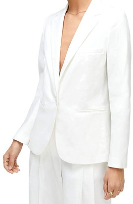 7 For All Mankind Notch Collar Blazer (Optic White) Women's Clothing