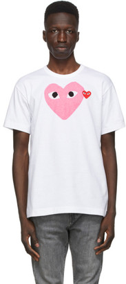 Comme des Garcons White and Pink Big Heart T-Shirt