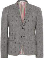 Thom Browne Grey Slim-fit Embroidered Herringbone Wool Blazer - Gray