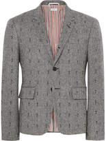 Thom Browne Grey Slim-Fit Embroidered Herringbone Wool Blazer