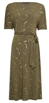 Dorothy Perkins Womens Khaki Gold Foil Printed Dress, Khaki