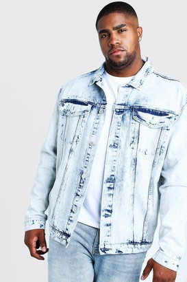 boohoo Mens Blue Big & Tall Denim Jacket In Acid Wash, Blue