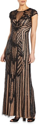 Aidan Mattox Beaded Cap-Sleeve Gown