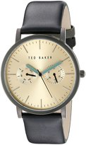 Ted Baker Men's Classic Collection Custom Multifunction Sub-Eye w/ Contrast Detail Date Leather Strap Watch Gold