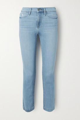 Frame Le High Distressed Straight-leg Jeans - Light denim