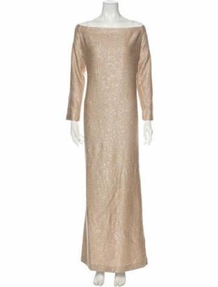 St. John Bateau Neckline Long Dress Gold
