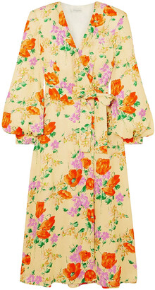 Dries Van Noten Floral-jacquard Midi Wrap Dress