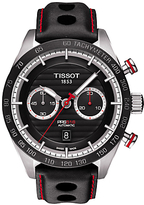 Tissot T1004271605100 Pr100 Automatic Chronograph Date Leather Strap Watch, Black