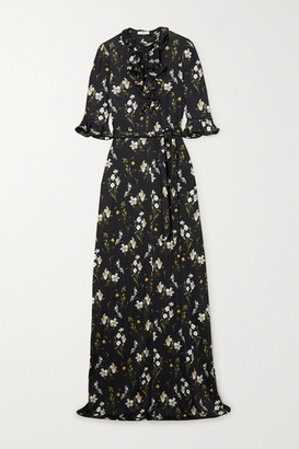 Erdem Farrell Belted Ruffled Floral-print Jersey Gown - Black