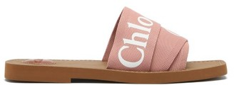 Chloé Woody Canvas And Leather Sandals - Pink