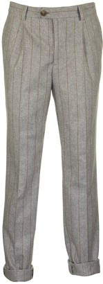 Brunello Cucinelli Virgin Wool Chalk Stripe Flannel Smooth Fit Trousers With Double Pleat