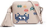 Anya Hindmarch Space Invaders Embossed Leather Shoulder Bag - Stone