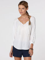 C&C California Textured cotton lace peasant top