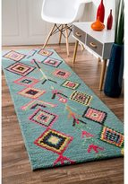 nuLoom Contemporary Handmade Wool/ Viscose Moroccan Triangle Turquoise Runner Rug (2'6 x 8')
