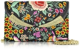 Roberto Cavalli Floral Embroidered Black Satin Clutch w/Crystals