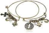 Cara Double Stackable Bracelet Cross Charm Bracelet