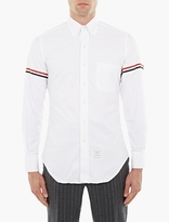 Thom Browne Classic L/s Bd Pc Shirt W/ Gg Armband In Oxford