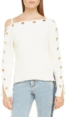 Alexander McQueen Grommet Asymmetrical Ribbed Sweater
