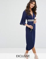 TFNC WEDDING Kimono Sleeve Midi Dress with Wrap Skirt
