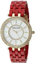 Anne Klein Women's AK/2620RDGB Swarovski Crystal Accented Gold-Tone and Red Resin Bracelet Watch