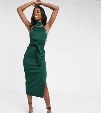 Asos Tall ASOS DESIGN Tall paperbag halter pencil midi dress in forest green