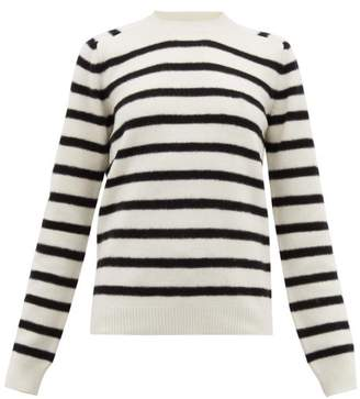 Saint Laurent Boat Neck Striped Wool Sweater - Womens - White Black