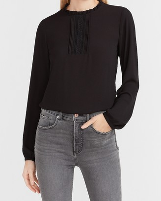 Express Ruffle Front Long Sleeve Top