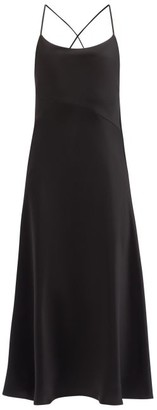 Galvan Serena Scooped-back Satin Midi Dress - Black