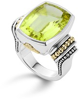 Lagos 18K Gold and Sterling Silver Caviar Color Large Ring with Green Quartz