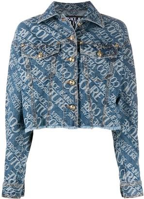 Versace Logo Print Denim Jacket